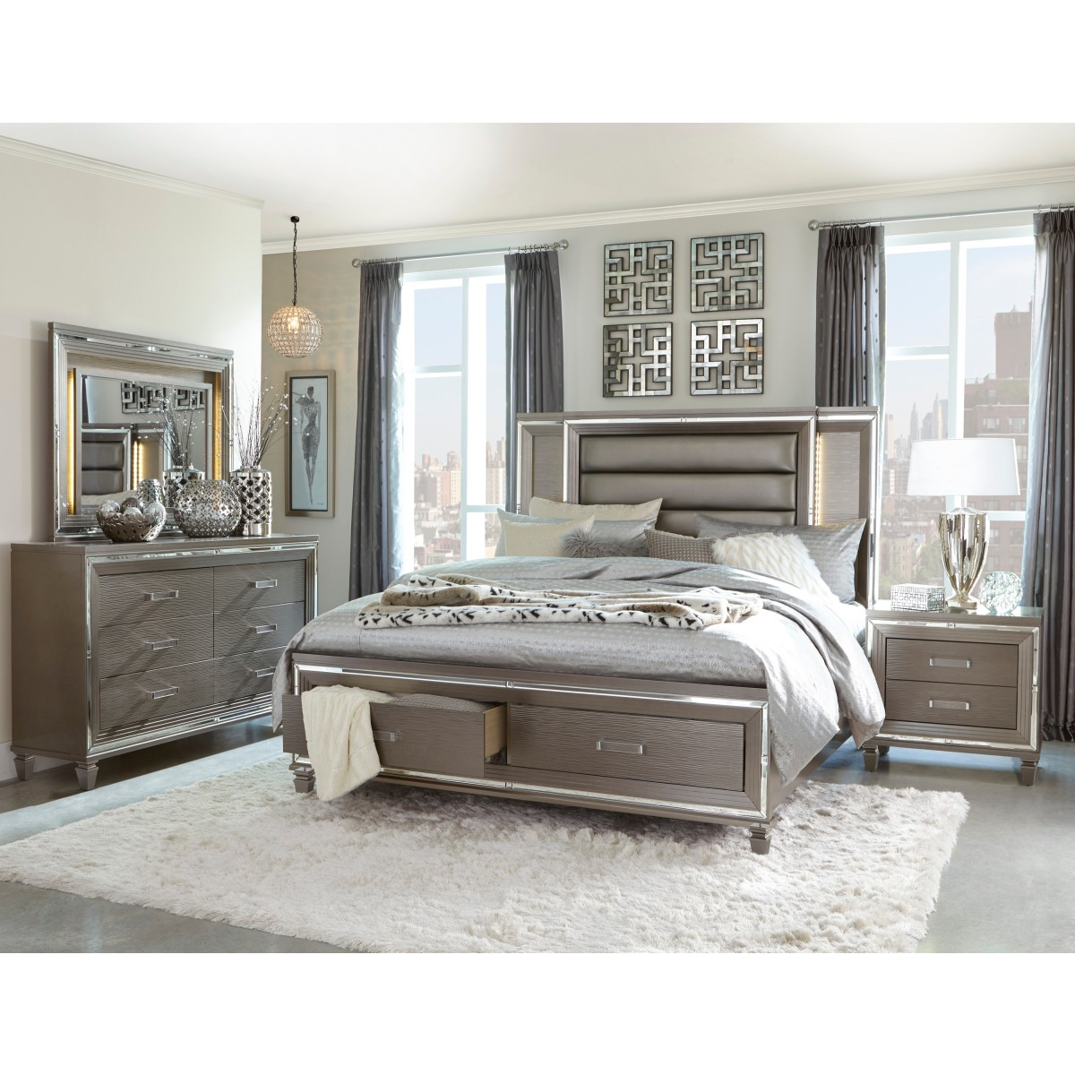 1616-1* Queen Platform Bed with Footboard Storage, LED ...