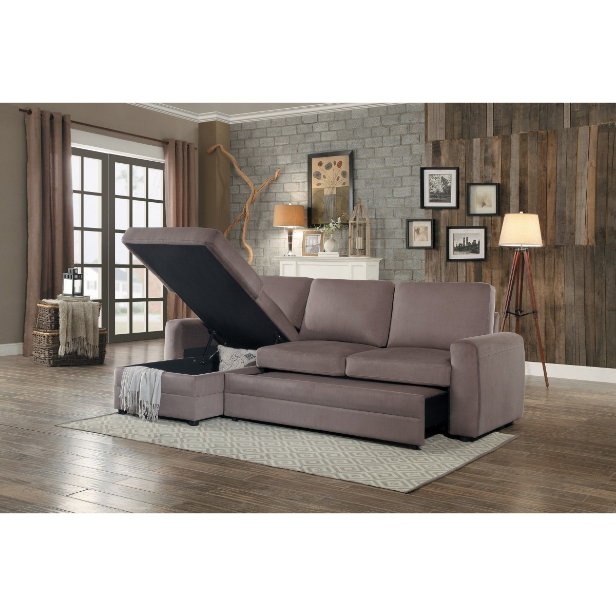 8211 2 Piece Reversible Sectional With Pull Out Bed And