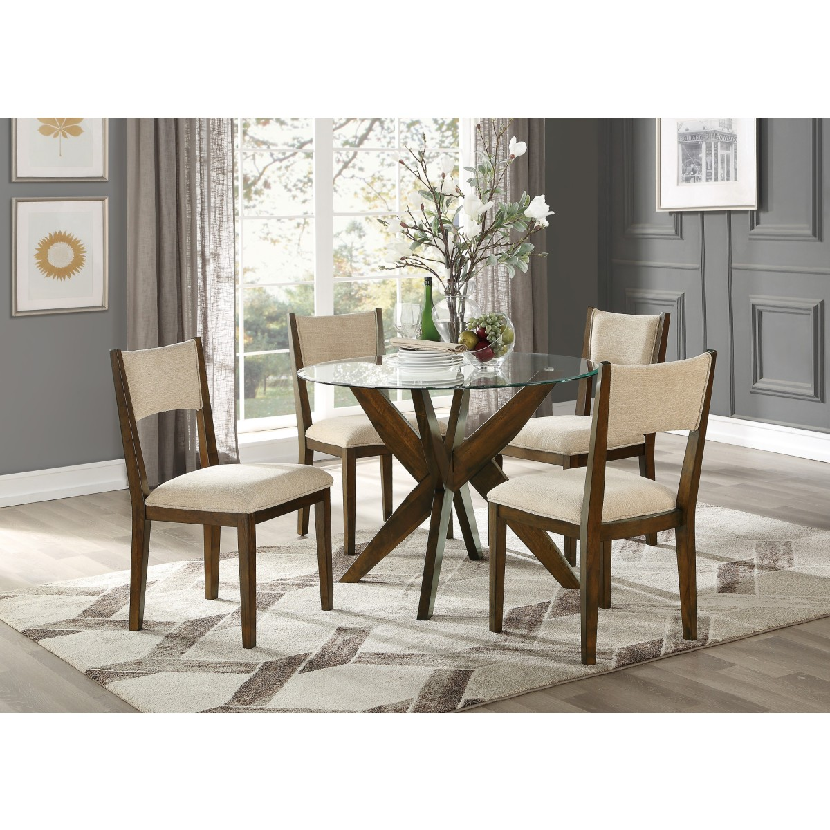 549142 round glass dining table tempered