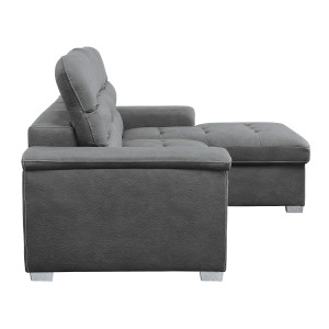 2-Piece Sectional with Pull-out Bed and Hidden Storage/9808SGY*SC