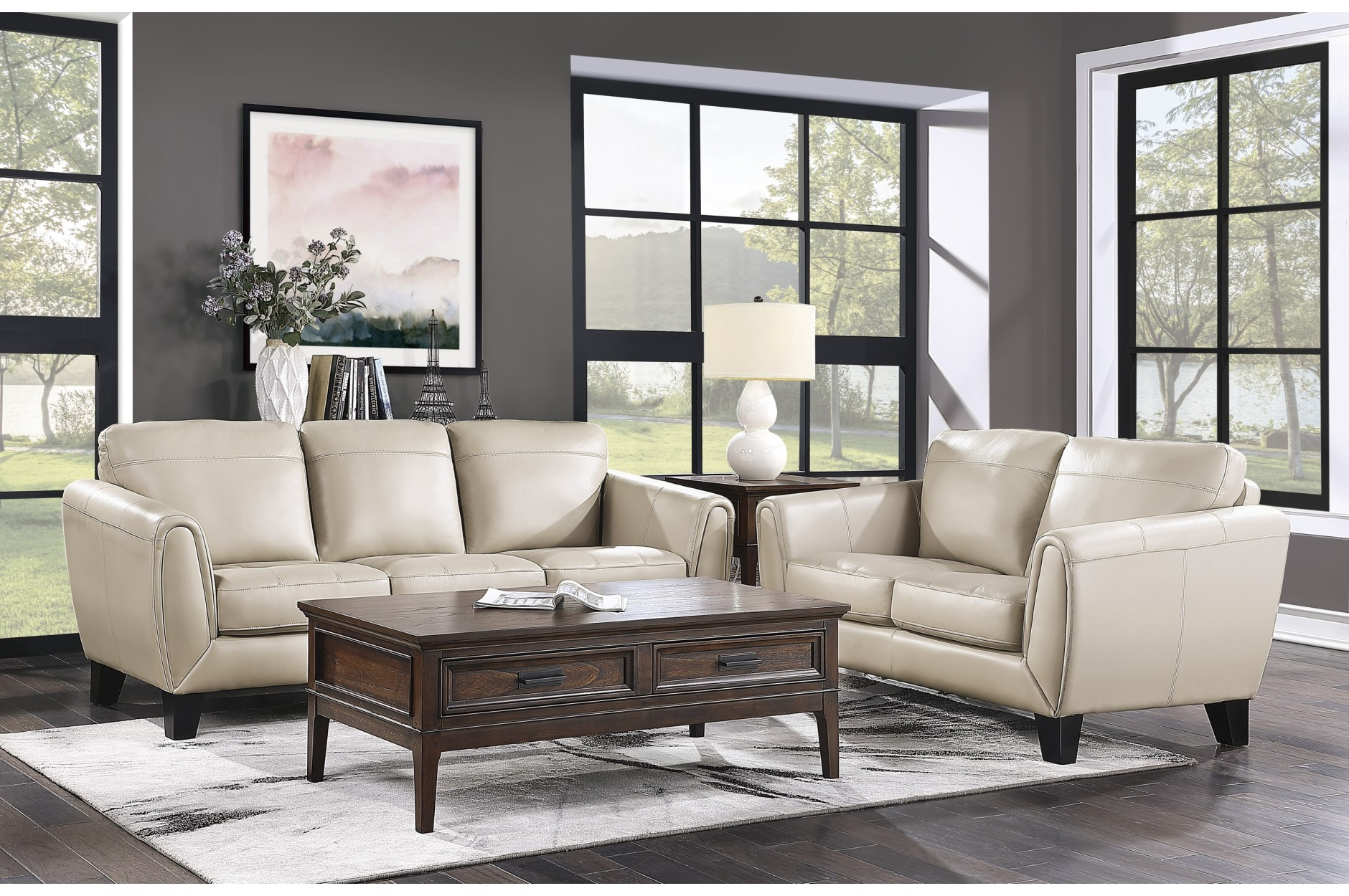 2PC leather Sofa + Loveseat