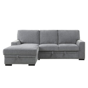 2-Piece Sectional with Pull-out Bed and Left Chaise with Hidden Storage/9468DG*2LC2R