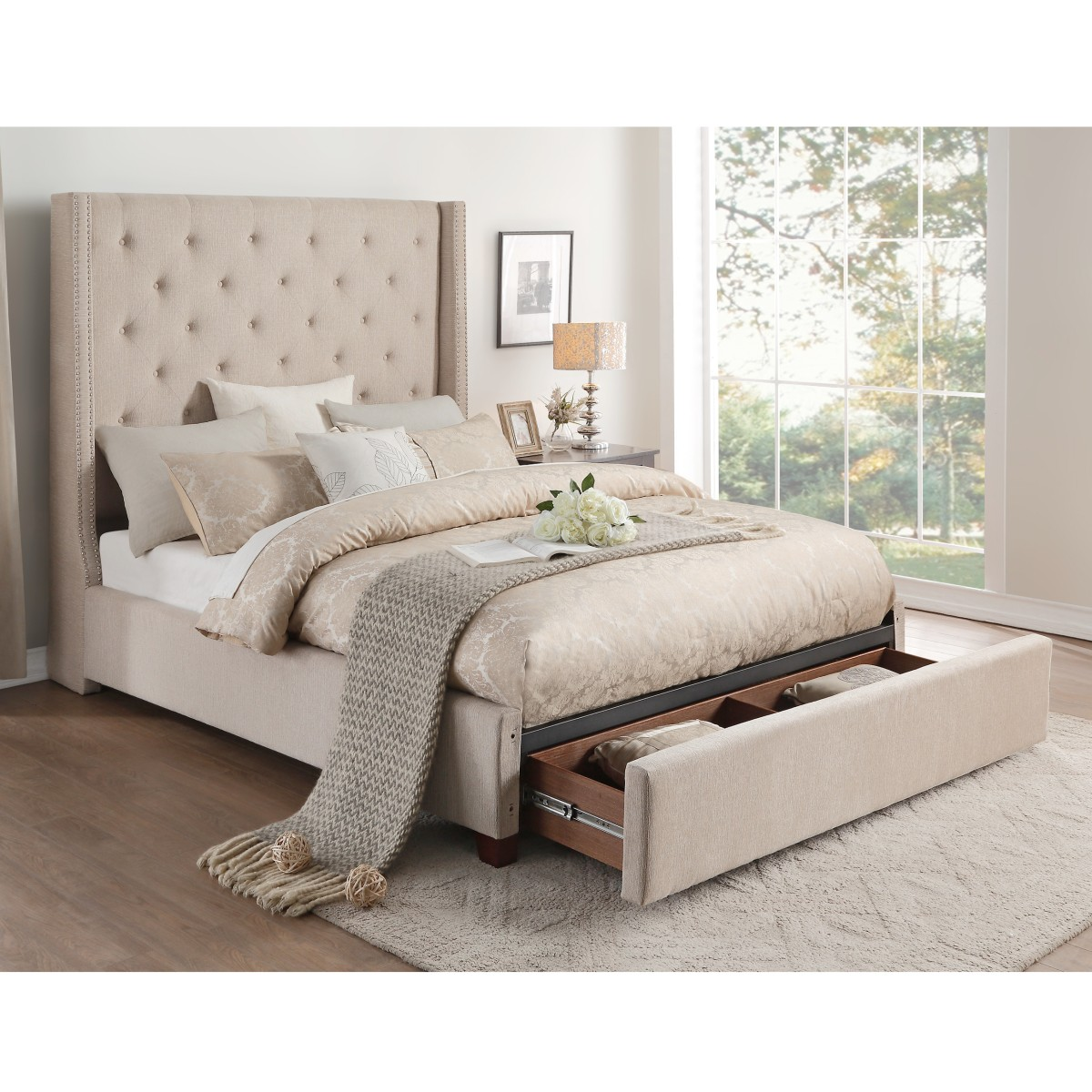 5877kbe 1ckdw California King Platform Bed With Storage Footboard