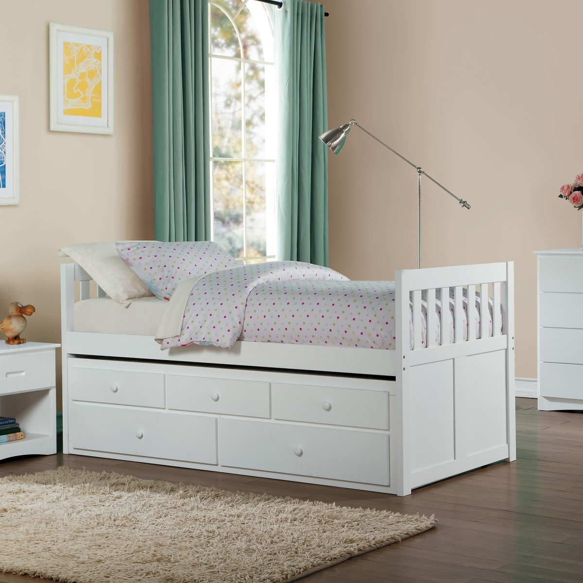 B2053prw 1 Twin Twin Trundle Bed With Two Storage Drawers